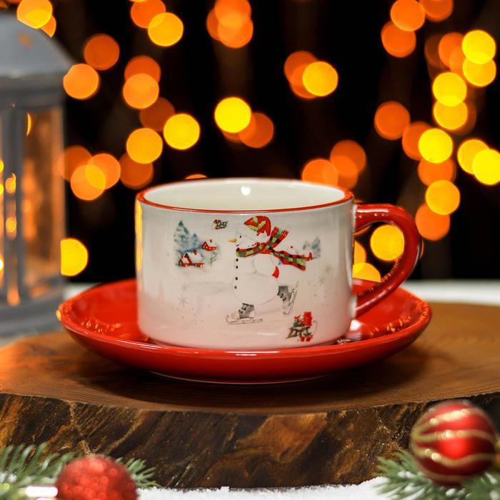 Чайная пара Доляна «Снеговик», чашка 210 мл, блюдце d=15 см