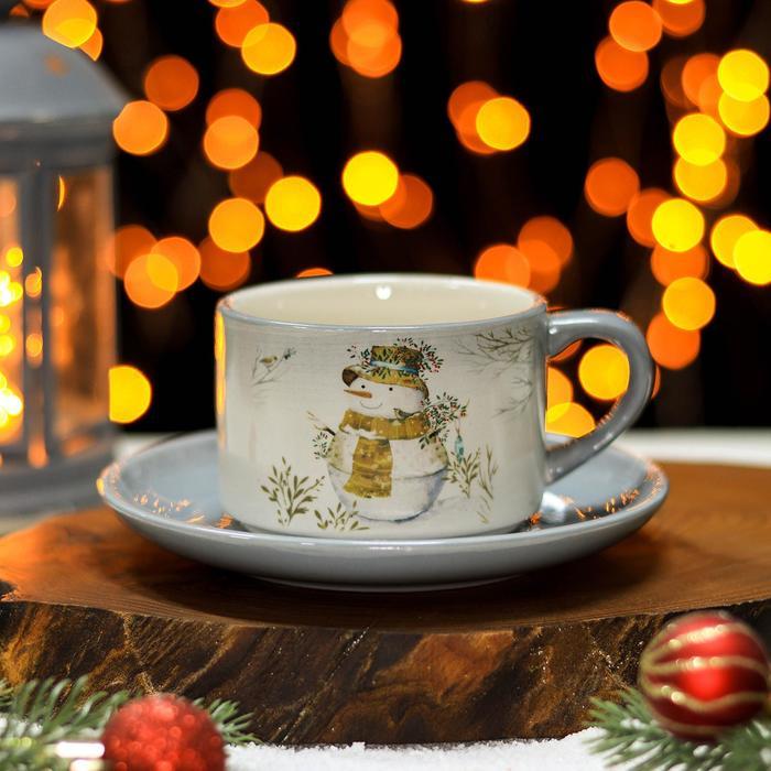 Чайная пара Доляна «Рождественский снеговик», чашка 210 мл, блюдце d=15 см