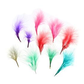 Набор перьев для декора 10 шт., размер 1 шт: 7×7 см, цвета пудровые МИКС