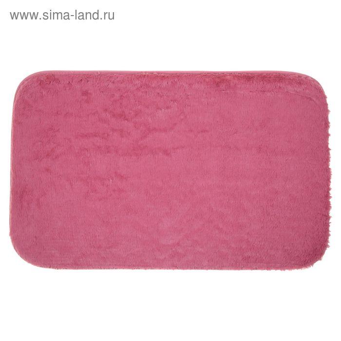Коврик для ванной пушистый, 50х80 см, цвет розовый