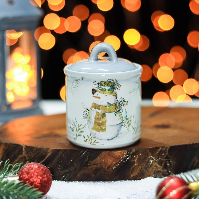 Сахарница Доляна «Рождественский снеговик», 150 мл, 7×9 см