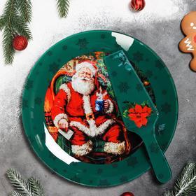 "{{photo.Alt || photo.Description || 'Тортовница с лопаткой Счастливый Санта"" 30 см'}}"