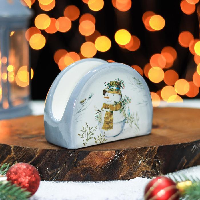 Салфетница Доляна «Рождественский снеговик», 9,5×4,5×7 см