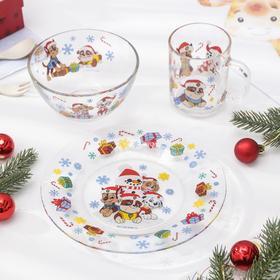 """Набор посуды детский 3 предмета """"Щенячий патруль.Новый год"""""""