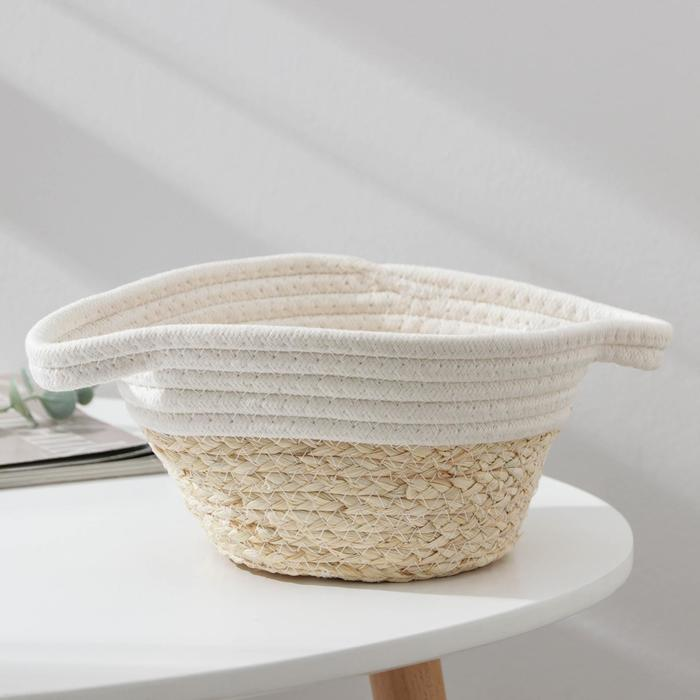 Корзина для хранения Доляна «Соун», плетёная, 26×20×11 см, цвет бежевый