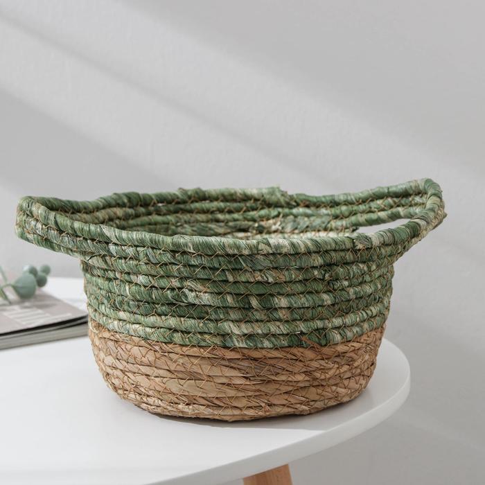 Корзина для хранения «Магия», плетёная, 28×22,5×13 см, цвет зелёный