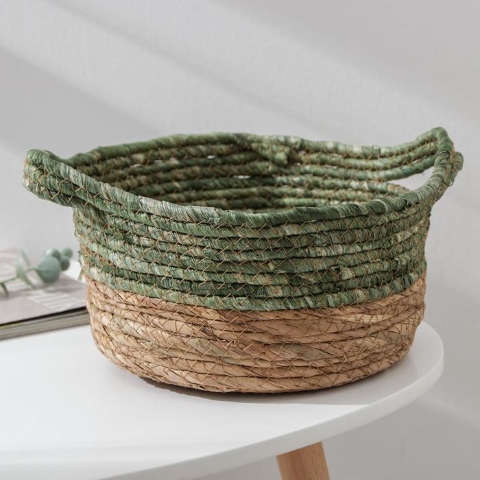 Корзина для хранения «Магия», плетёная, 29×25×15,5 см, цвет зелёный