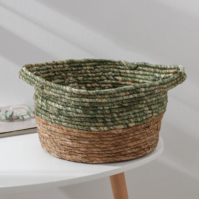 Корзина для хранения «Магия», плетёная, 34×30×16 см, цвет зелёный