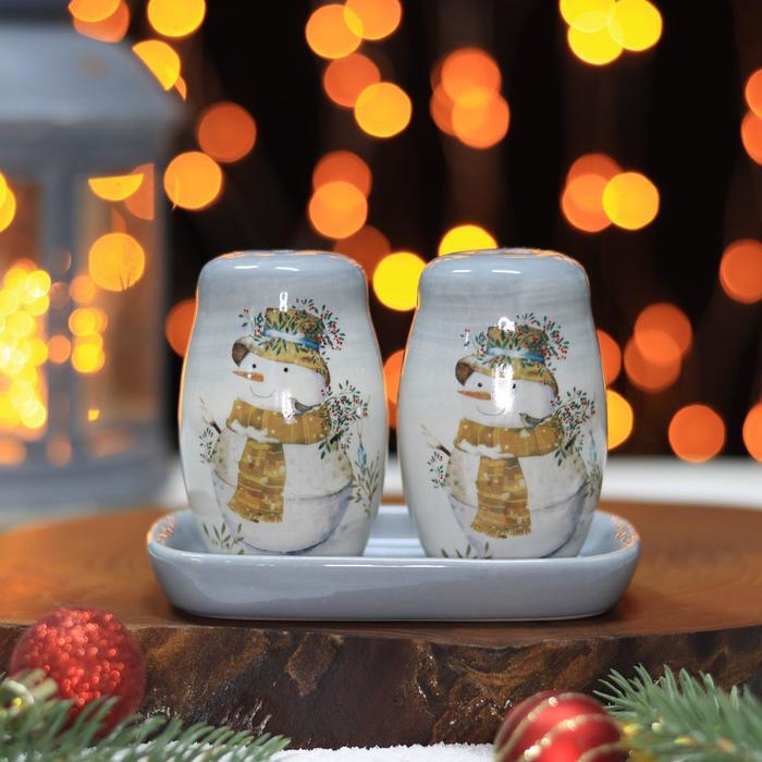 Набор для специй Доляна 2 шт. «Рождественский снеговик», солонка, перечница, 130 мл 11,5×6,2×8,8 см