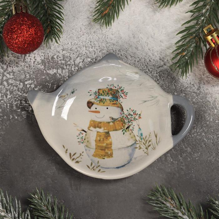 Подставка под чайный пакетик Доляна «Рождественский снеговик», 12×8,4×1,5 см