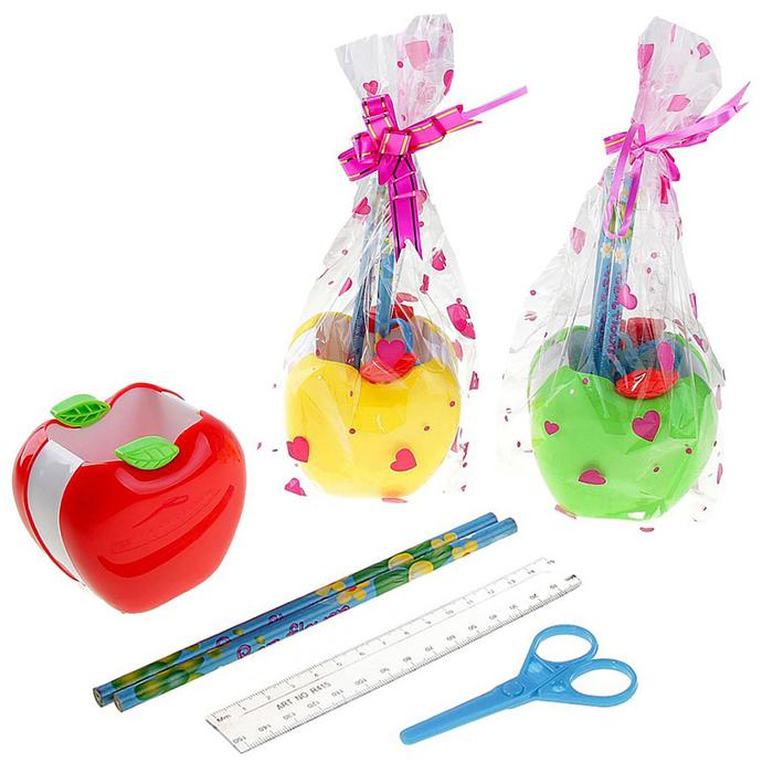 """Набор настольный детский """"Яблоко"""" 5 предметов: 2 карандаша, линейка, ножницы, подставка МИКС"""