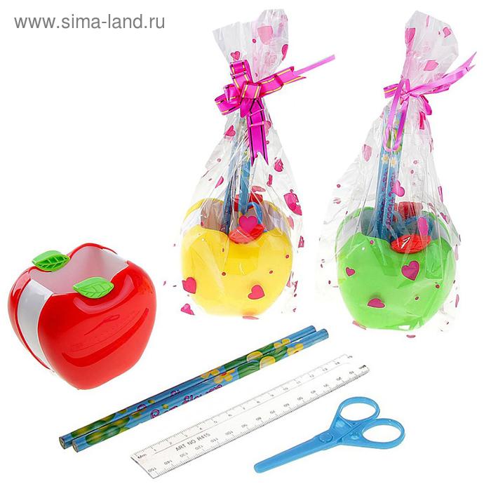 Набор настольный, детский, «Яблоко», 5 предметов: 2 карандаша, линейка, ножницы, подставка, МИКС