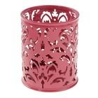 Стакан для ручек, круглый, «Узор», розовый