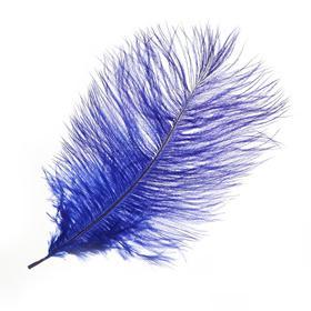 Перо для декора, размер: 25-30 см, цвет синий
