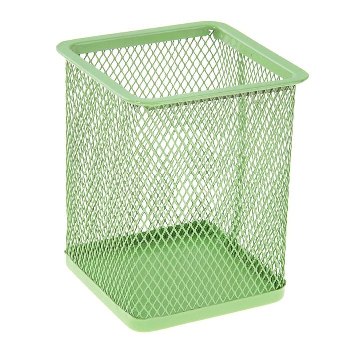 Стакан для пишущих принадлежностей квадратный сетка металл зеленый