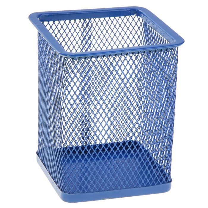 Стакан для пишущих принадлежностей квадратный сетка металл синий