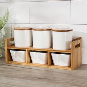 Набор банок для сыпучих продуктов «Эстет», на подставке 6 шт.