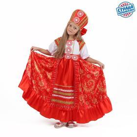 Карнавальный костюм «Кадриль красная», платье, кокошник, р. 28, рост 98-104 см