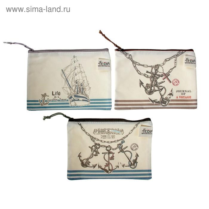Папка-конверт на молнии формат А5 Морской стиль 20*14см МИКС