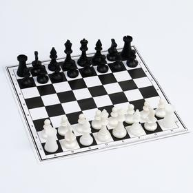 Набор шахматы и шашки, шахм. поле,фигуры пластик, король h=7 см,пешка h=4 см, d шашки=2.9 см