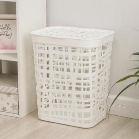 Корзина для белья с крышкой «ХАОС», 55 л, 44×36×52 см, цвет белый