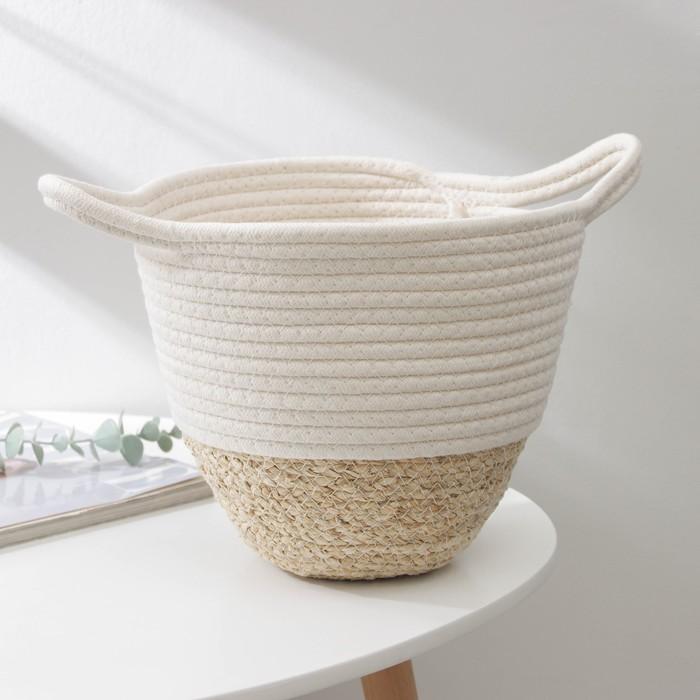 Корзина для хранения Доляна «Соун», плетёная, 38×20×15 см, цвет бежевый