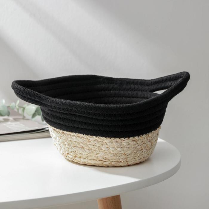 Корзина для хранения Доляна «Соун», плетёная, 26×22×9 см цвет чёрный