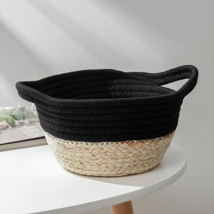 Корзина для хранения Доляна «Соун», плетёная, 30×20×12 см, цвет чёрный
