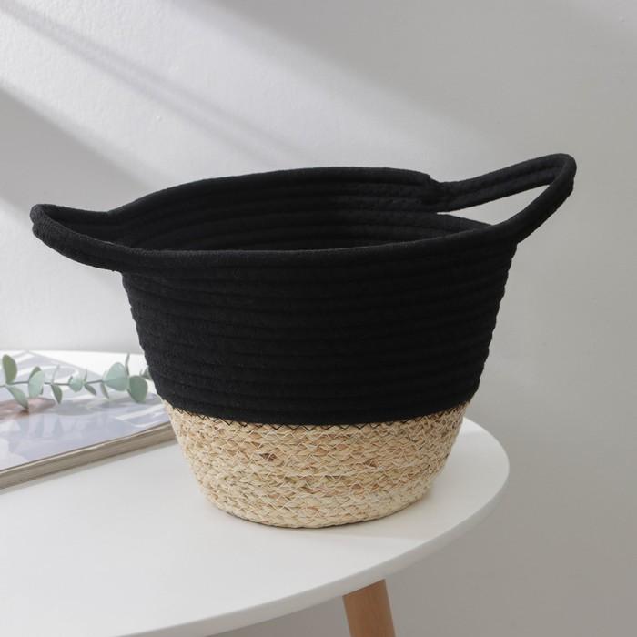 Корзина для хранения Доляна «Соун», плетёная, 34×22×14 см, цвет чёрный