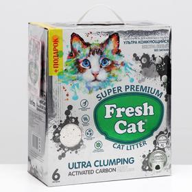 Наполнитель комкующийся Fresh cat с природным углём, 6 л