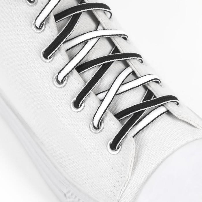 Шнурки для обуви, пара, круглые, d = 5 мм, 90 см, цвет чёрный/белый - фото 3076840