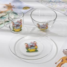 "Набор для завтрака ""Веселые зверюшки"" (тарелка, салатник, кружка) МИКС"
