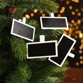 Набор декоративных прищепок «Таблички» 7×4,8×1,2 см, набор 4 шт.