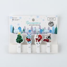 Набор декоративных прищепок «Дедушка Мороз», 12 × 9,7 см