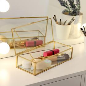 Органайзер для косметических принадлежностей «Амалия», с крышкой, 1 секция, 23,2 × 10 × 5,6 см, цвет прозрачный/медный