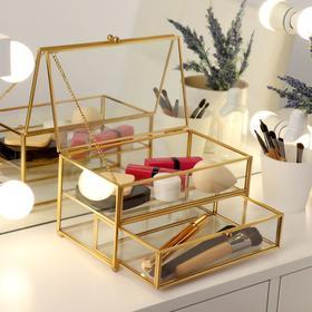 Органайзер для косметических принадлежностей «Амалия», с крышкой, 1 секция, 1 ящик, 20,5 × 13 × 11 см, цвет прозрачный/медный