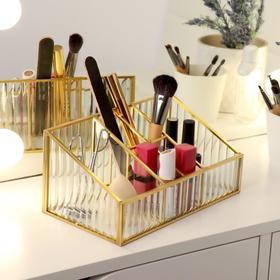 Органайзер для косметических принадлежностей «Амалия», 6 секций, 22 × 12 × 10,3 см, цвет прозрачный/медный