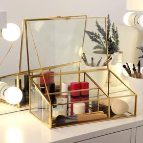 Органайзер для косметических принадлежностей «Амалия», 3 секции, 25 × 14,5 × 10,5 см, цвет прозрачный/медный
