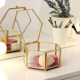 Органайзер для косметических принадлежностей «Белла», с крышкой, 1 секция, 14 × 13,2 × 7,1 см, цвет прозрачный/медный