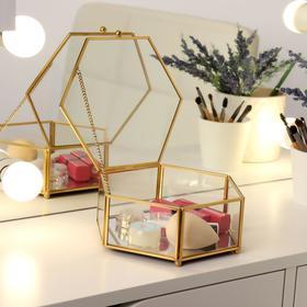 Органайзер для косметических принадлежностей «Белла», с крышкой, 1 секция, 18 × 16,7 × 7,1 см, цвет прозрачный/медный