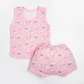 Комплект (майка, трусы) детский, цвет розовый/кошки, рост 74 см