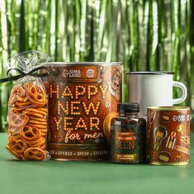 Подарочный набор Happy New Year: чай чёрный с имбирём 50 г., кружка 350 г., арахис солёный 300 г., крекеры 70 г.