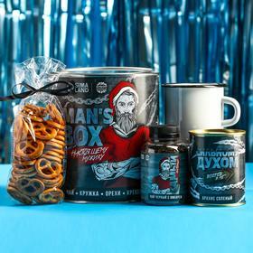 Подарочный набор Men's box: чай чёрный с имбирём 50 г., кружка 350 г., арахис солёный 300 г., крекеры 70 г.