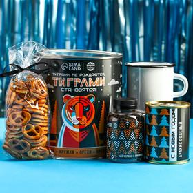 Подарочный набор «Тиграми становятся»: чай чёрный с имбирём 50 г., кружка 350 г., арахис солёный 300 г., крекеры 70 г.