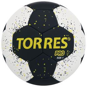 Мяч гандбольный TORRES PRO, размер 1, ПУ, гибридная сшивка, цвет чёрный/белый/жёлтый