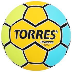 Мяч гандбольный TORRES Training, размер 0, ПУ, ручная сшивка, цвет жёлтый/голубой