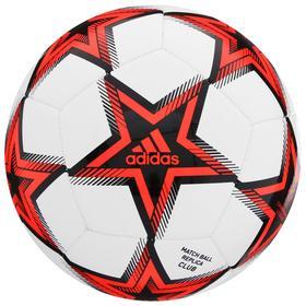 Мяч футбольный ADIDAS UCL Club P, размер 4, ТПУ, 12 панелей, машинная сшивка, цвет белый/красный/чёрный