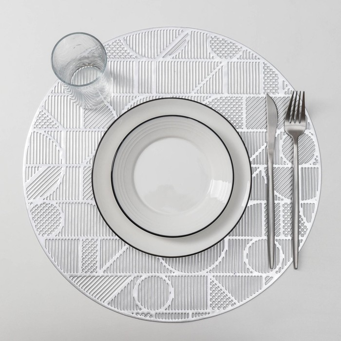 Набор салфеток кухонных Доляна «Бурлеск», 4 шт, d=38 см, цвет серебро