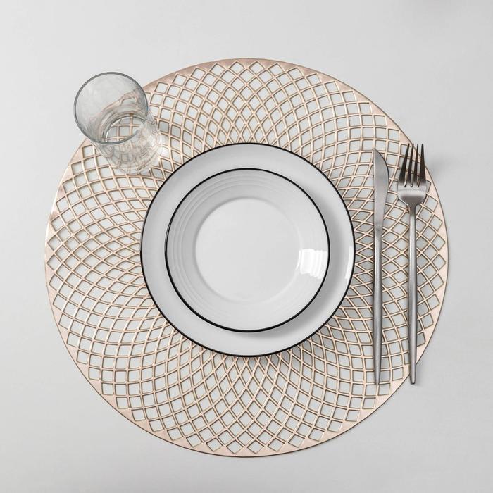 Набор салфеток кухонных Доляна «Вира», 4 шт, d=38 см, цвет золото