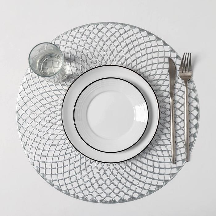 Набор салфеток кухонных Доляна «Вира», 4 шт, d=38 см, цвет серебро